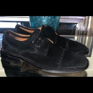 Mezlan Niguel Brogue Black Suede Monk Men Shoes 9M